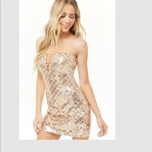 Forever 21 rose gold sequin mini tube dress